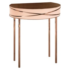 Stella Pink Console or Bedside Table with Rose Gold Trims by Nika Zupanc