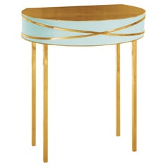 Stella Mint Green Console or Bedside Table with Gold Trims by Nika Zupanc