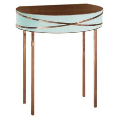 Stella Mint Green Console or Bedside Table with Rose Gold Trims by Nika Zupanc
