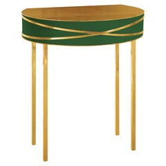 Stella Green Console or Bedside Table with Gold Trims by Nika Zupanc