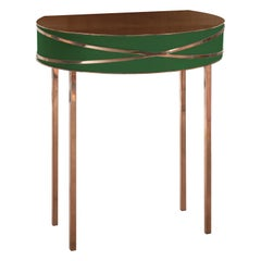 Stella Green Console or Bedside Table with Rose Gold Trims by Nika Zupanc