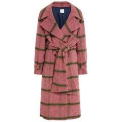 Stella Jean Pink Check Wool Coat - Size US 6