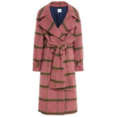 Stella Jean Pink Check Wool Coat - Size US 6