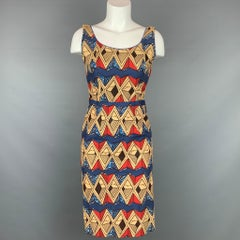 STELLA JEAN Size 6 Multi-Color Abstract Cotton Sleeveless Dress