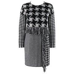 STELLA McCARTNEY 2014 Runway Black White Houndstooth Mini Shift Sweater Dress