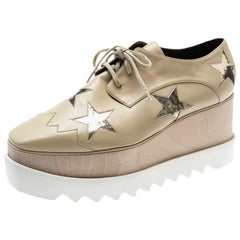 Stella McCartney Beige Faux Leather Elyse Star Platform Lace Up Derby Size 40