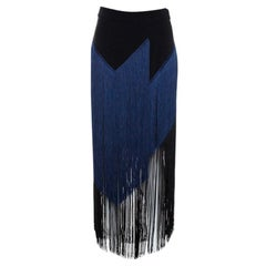 Stella McCartney Bicolor Crepe Asymmetrical Fringed Veronica Skirt S