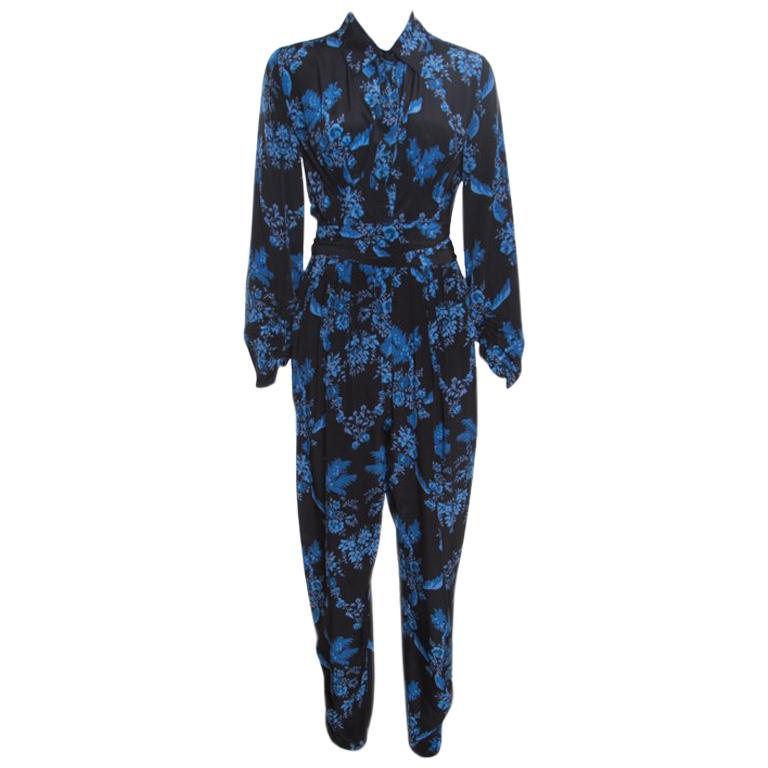 590e181ca0f4 Stella McCartney Black and Blue Floral Printed Silk Belted Natalia Jumpsuit  S For Sale at 1stdibs