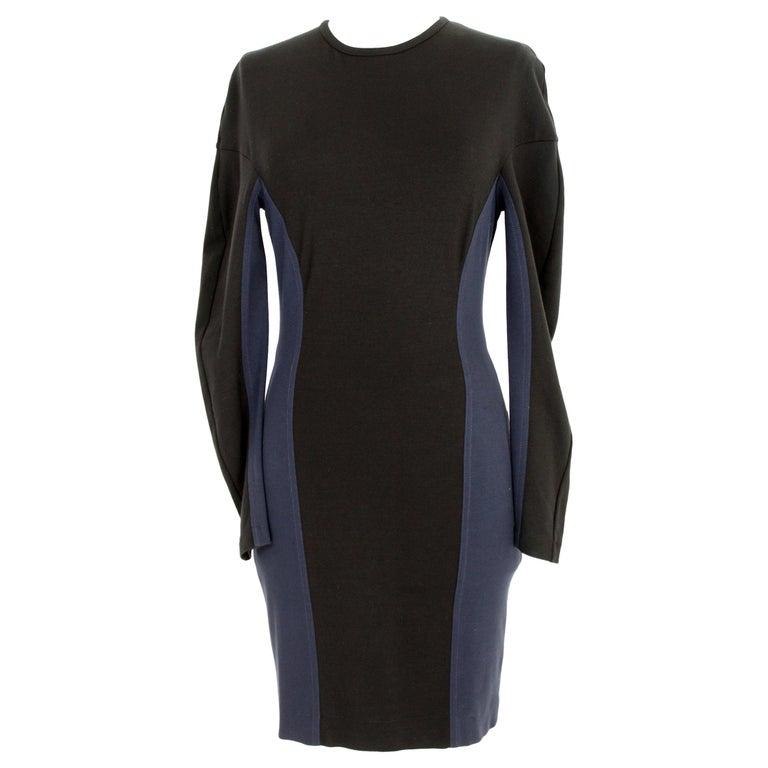 Stella McCartney Black Blue Stretch Sheath Party Dress  For Sale