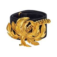 Stella McCartney Black Canvas Palm Tree Buckle Belt 80 CM
