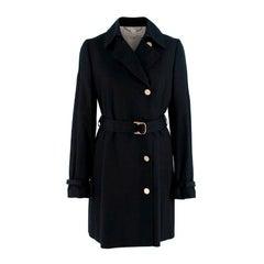 Stella McCartney Black Cotton Belted Trench Coat US 4