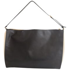 Stella McCartney black eco leather off white fabric shoulder bag