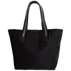 Stella McCartney Black Eco Nylon Tote Bag w/ Chain Detail