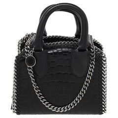 Stella McCartney Black Faux Croc Embossed Leather Falabella Tote
