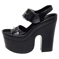 Stella McCartney Black Faux Leather Buckle Block Heel Sandals Size 39