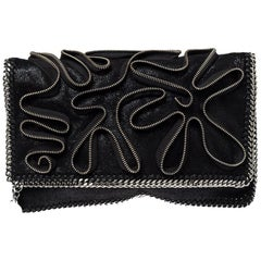 Stella McCartney Black Faux Leather Falabella Zip Detail Clutch