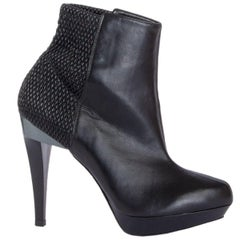 STELLA MCCARTNEY black faux leather Platform Ankle Boots Shoes 37.5