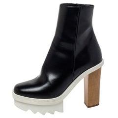 Stella McCartney Black Faux Leather Platform Ankle Boots Size 36