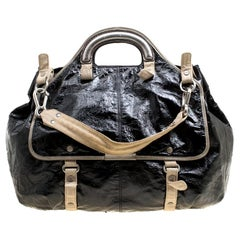 Stella McCartney Black Faux Patent Leather and Canvas Top Handle Bag