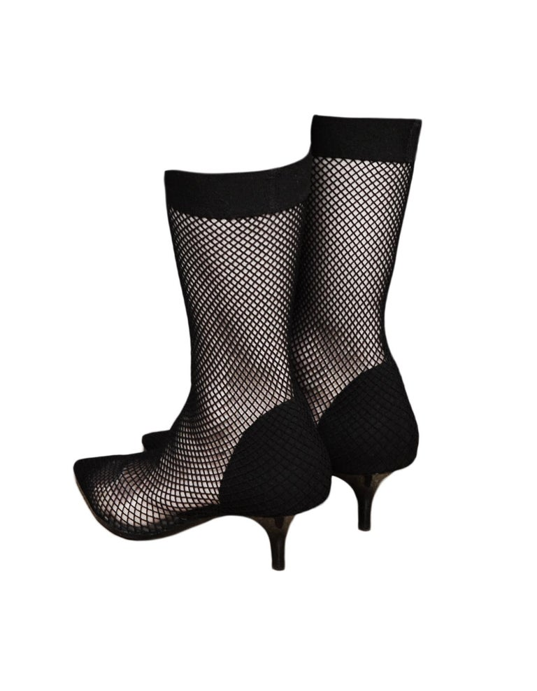 Women's Stella McCartney Black Fishnet 70 Faux Suede & PU Sock Boot Sz 38 For Sale