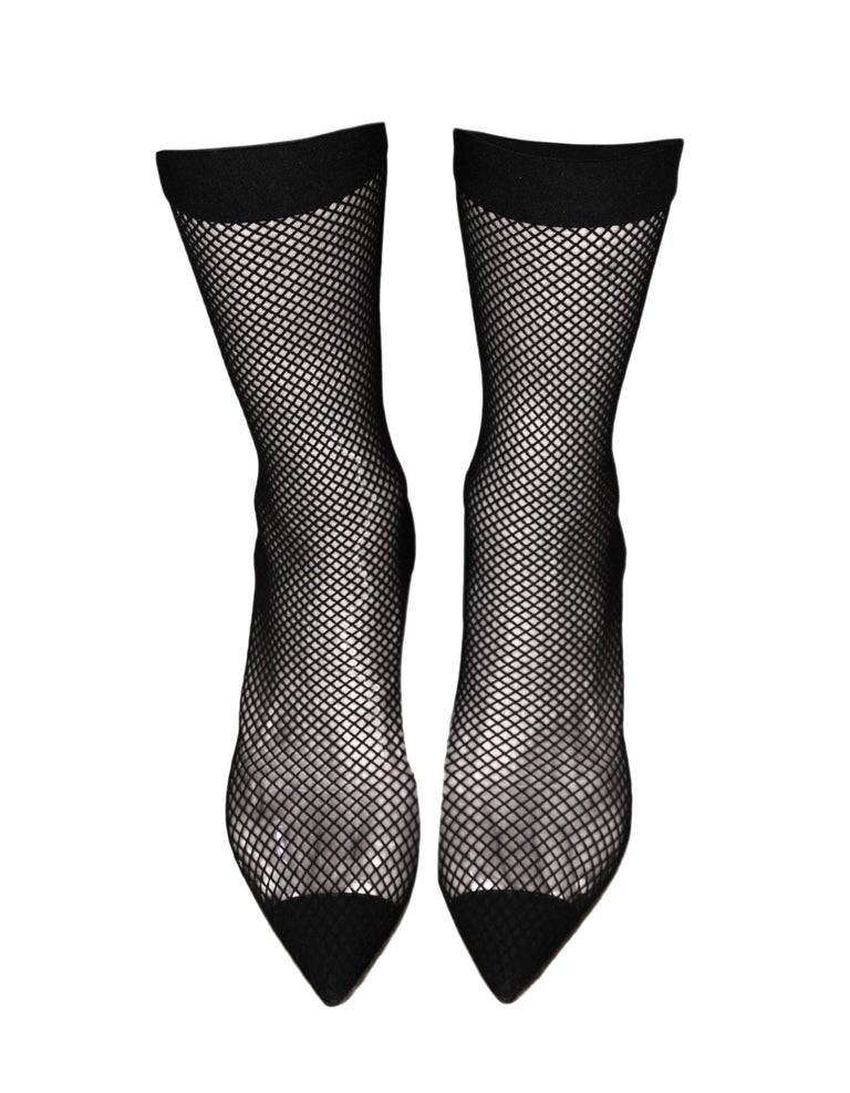 Stella McCartney Black Fishnet 70 Faux Suede & PU Sock Boot Sz 38 For Sale 1