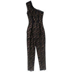 Stella McCartney Black Lace One-Shoulder Jumpsuit S 38