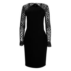 Stella McCartney Black Leopard Chiffon Sleeve Dress sz 48