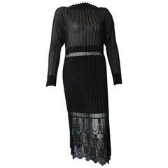 Stella McCartney Black Midi Sheer and Pleated Lace Dress Size 42