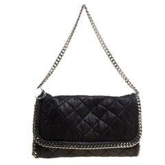 Stella McCartney Black Quilted Faux Leather Falabella Shoulder Bag