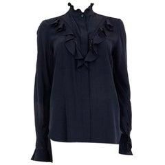 STELLA MCCARTNEY black silk RUFFLED Button Up Shirt 38 XS Blouse