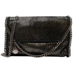 Stella Mccartney Black & Silver Metallic Falabella Chain Shoulder Bag