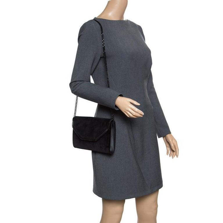16ff2be20778 Stella McCartney Black Velvet Falabella Shoulder Bag In Excellent Condition  For Sale In Dubai