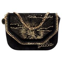 Stella McCartney Black Velvet Volcano Embroidered Mini Falabella Shoulder Bag