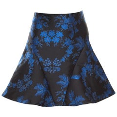 Stella McCartney Blue and Black Floral Jacquard Flounce Skirt S