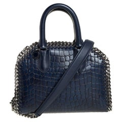 Stella McCartney Blue Croc Embossed Faux Leather Small Falabella Top Handle Box
