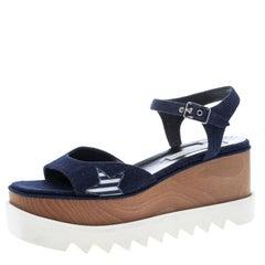 65389790c54a Stella McCartney Blue Denim Elyse Star Platform Sandals Size 39.5