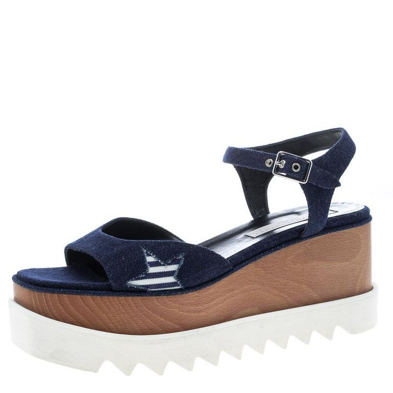 e351f04cecc Stella McCartney Blue Denim Elyse Star Platform Sandals Size 39.5 For Sale
