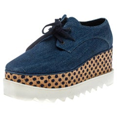 Stella McCartney Blue Denim Fabric Cork Platform Sneakers Size 38