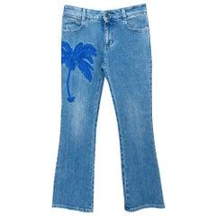 Stella McCartney Blue Denim Palm Embroidered Flared Jeans M
