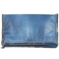 Stella McCartney Blue Falabella Foldover Clutch