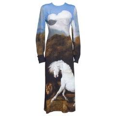 Stella McCartney Blue Stubbs Horse Print Side Slit Detail Midi Dress S