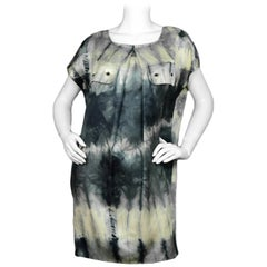 Stella McCartney Blue/Tan Cap Sleeve Tie-Dye Dress sz 40