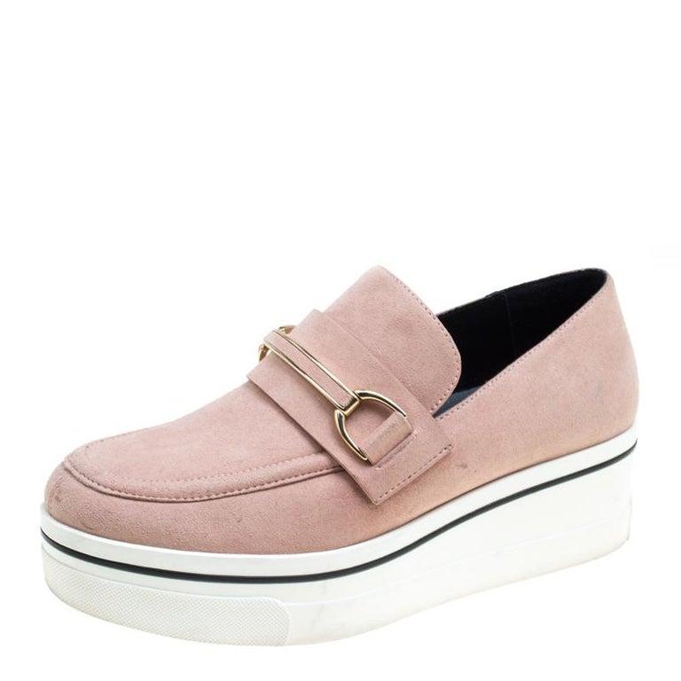 4afe122a73ad Stella McCartney Blush Pink Faux Suede Slip On Platform Loafers Size 38 For  Sale