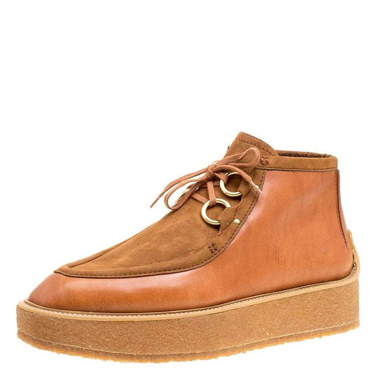 19b9ded33cbb Stella McCartney Brown Faux Suede and Leather High Clipper Platform Ankle  Boots For Sale