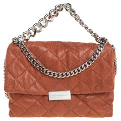 Stella McCartney Brown Quilted Faux Leather Small Beckett Chain Shoulder Bag