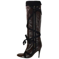 Stella McCartney Brown Vegan Leather Boots W/ Wrap Tie & Black Knit Top Sz 40.5