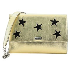 Stella McCartney Chain Flap Shoulder Bag Embroidered Faux Leather