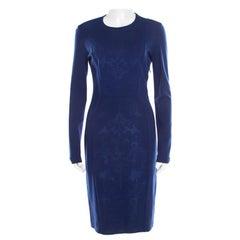 Stella McCartney Cobalt Blue Jacquard Front Panel Detail Long Sleeve Dress M