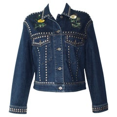 Stella McCartney Denim Multi-Colored and Floral Embroidered Jacket