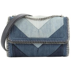 Stella McCartney Falabella Flap Shoulder Bag Chevron Patchwork Denim Small
